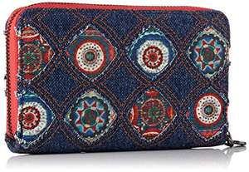 Desigual mini-Denim-Portemonnaie mit galaktischen Mandalas (19WAYD01)