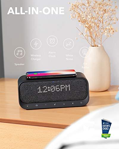 Soundcore Wakey Bluetooth Lautsprecher, FM Radio, Wecker, 7,5 W + 10W Schnellladetechnologie + QI Kabelloses Laden (iPhone + Android)