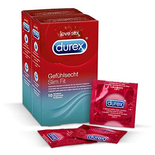 Durex Gefühlsecht Slim Fit Kondome – 20er Pack (2 x 10 Stück)