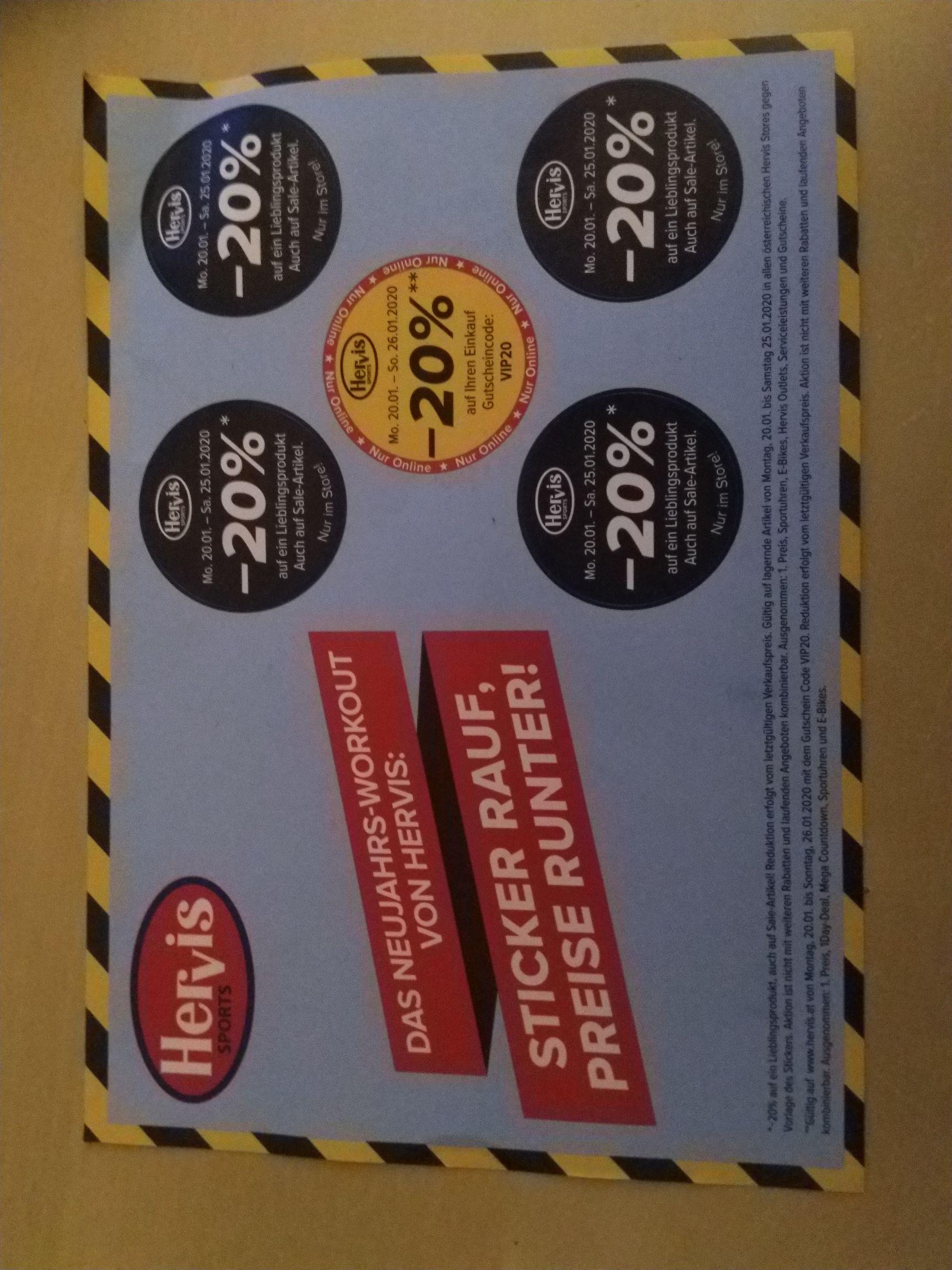 Hervis: Online -20% auf Einkauf, Store -20% auf Artikel mit Pickerl