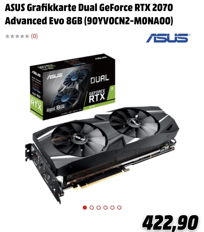 ASUS Grafikkarte Dual GeForce RTX 2070 Advanced Evo 8GB