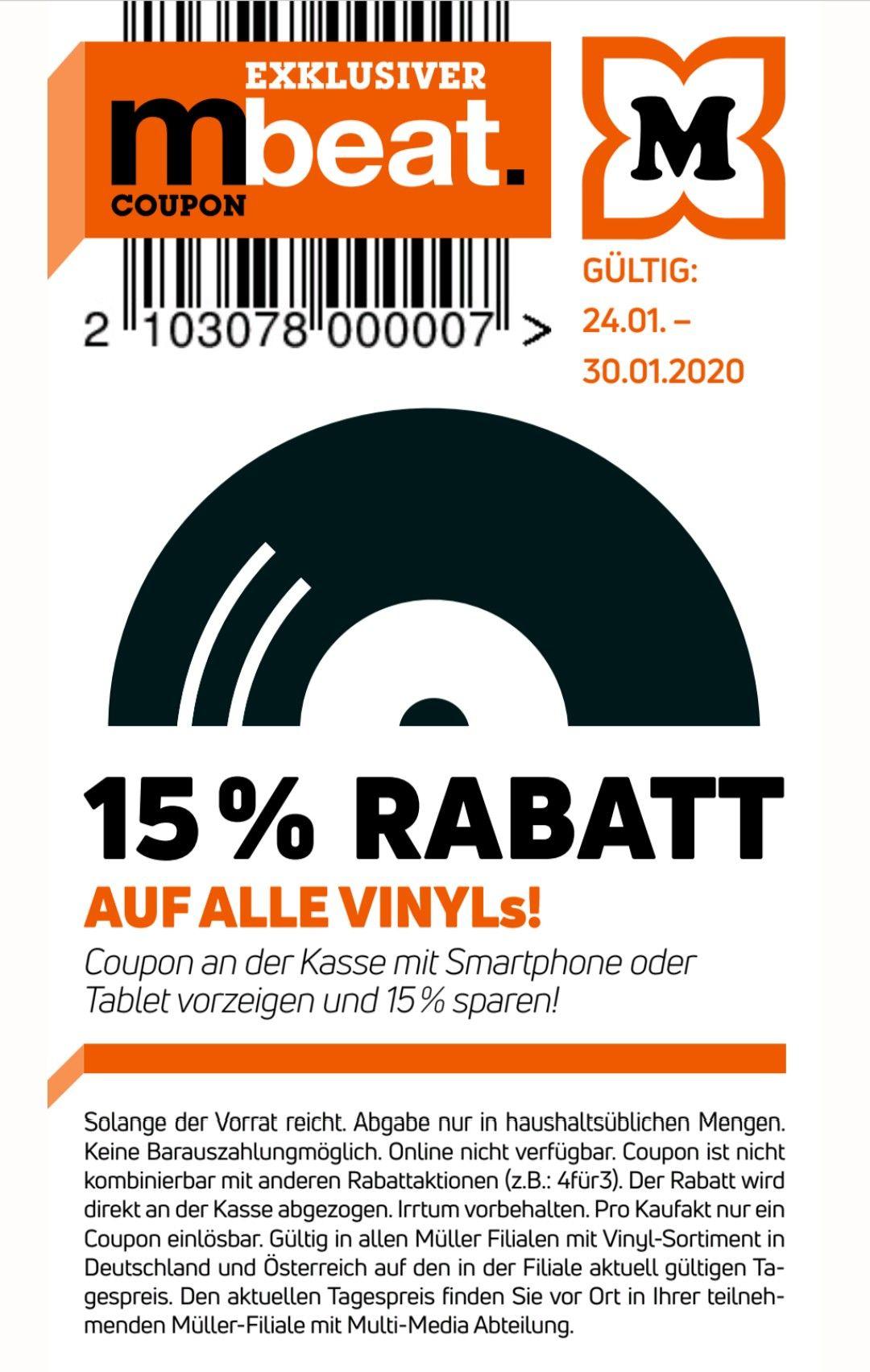 15% auf alle Vinyls bei Müller mit der mbeat app
