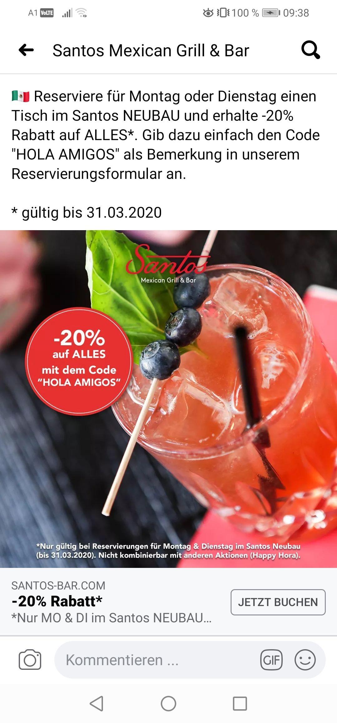 20% beim Mexikaner in Wien 7 (Mo u. Di)