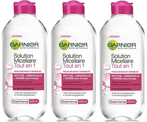 3x 400g Garnier Mizellen Reinigungswasser All-in-1 für trockene und empfindliche Haut