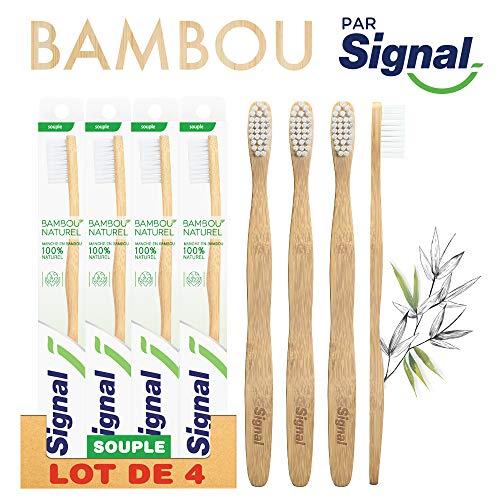 Signal Handzahnbürste, Bambus, 100 % natürlich, mittel oder weich, 4 Stück