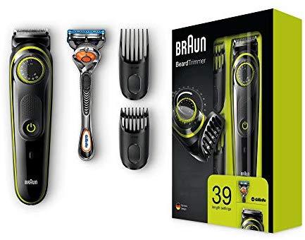 [Amazon] Braun Barttrimmer und Haarschneider BT3041, 39 Längeneinstellungen inkl. Gillette Rasierer, schwarz/grün um nur 20,95€ (Bestpreis!)