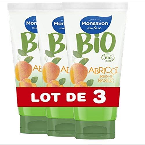 3x Monsavon Bio-Duschgel, Apricot Basilikum 200ml
