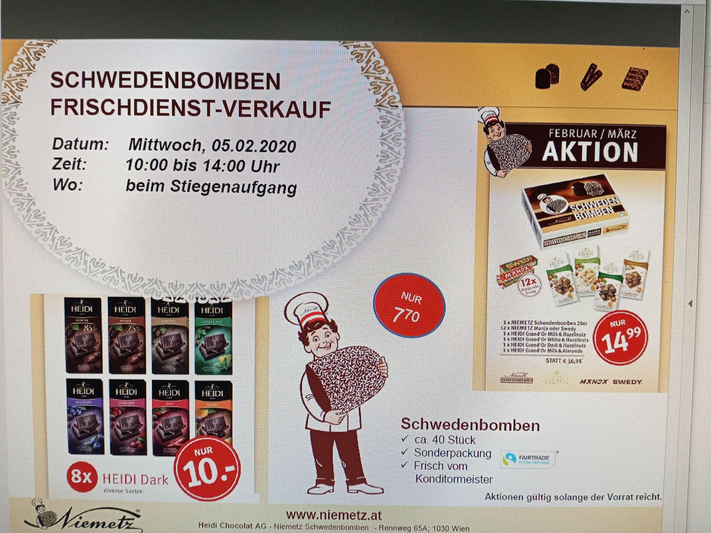 Schwedenbomben Verkauf zum vergünstigten Preis beim Terminal Tower 4020 Linz