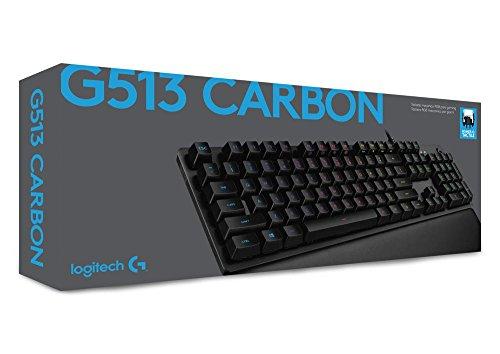 Logitech G513 mechanische Gaming-Tastatur (mit RGB Tastenbeleuchtung und Romer-G Tasten-Switches, Carbon) um 87,99€