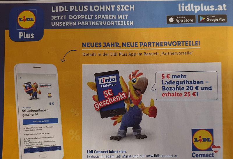 [Lidl Plus App] 5 Euro mehr Ladeguthaben für Lidl-Connect - zahle 20€ und erhalte 25€
