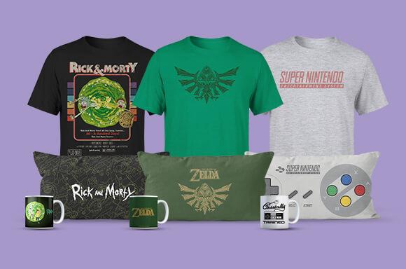 Kissen, T-Shirt und Tasse mit Rick & Morty, SNES, Zelda, Super Mario oder Jurassic Park