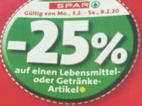 Spar / Interspar / Eurospar / Spar Gourmet -25% Rabatt auf 4 Artikel je Einkauf von Mo 3.2. bis Sa 8.2.
