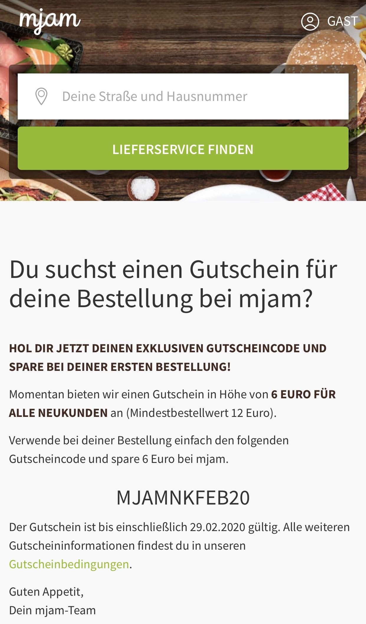 6 € MJAM Neukunden Gutschein