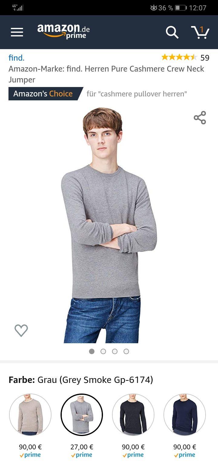 Cashmere Pulli in grau 48 Size