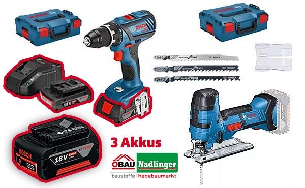 Bosch Akku Multi Sets (Bohrschrauber, Stichsäge, 2x 3Ah + 1x 6Ah oder Bohrschrauber, Meißelhammer, 2x 3Ah + 1x 6Ah)