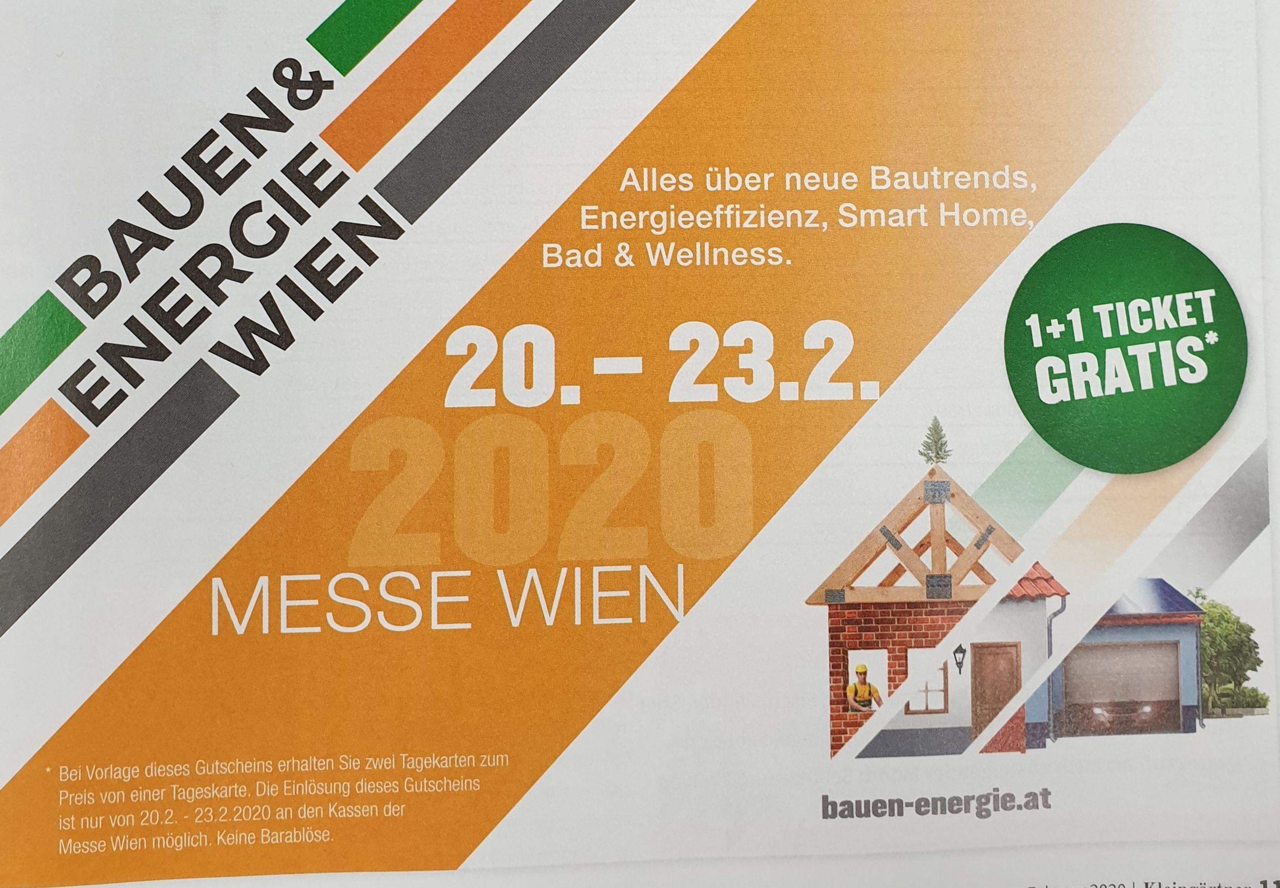 Bauen & Energie Wien Messe, 2 Tagestickets zum Preis von Einem