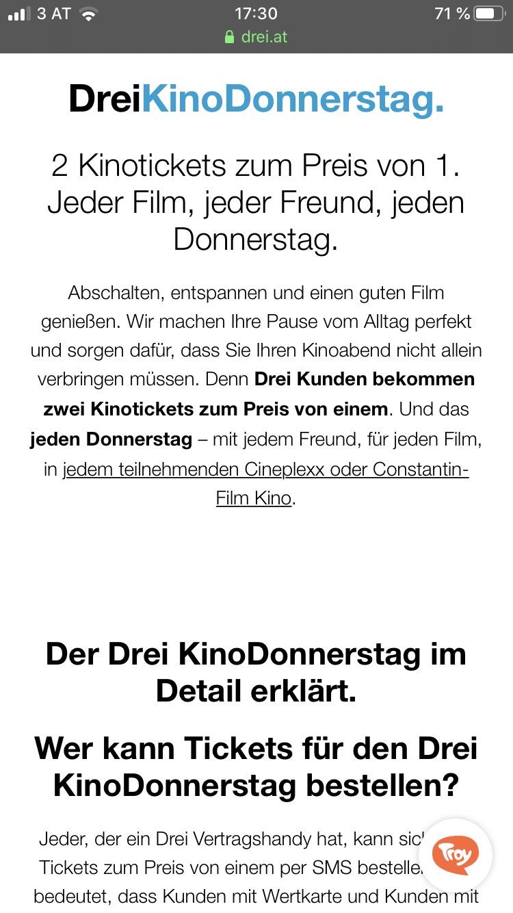DreiKinoDonnerstag 2 Tickets zum Preis von 1