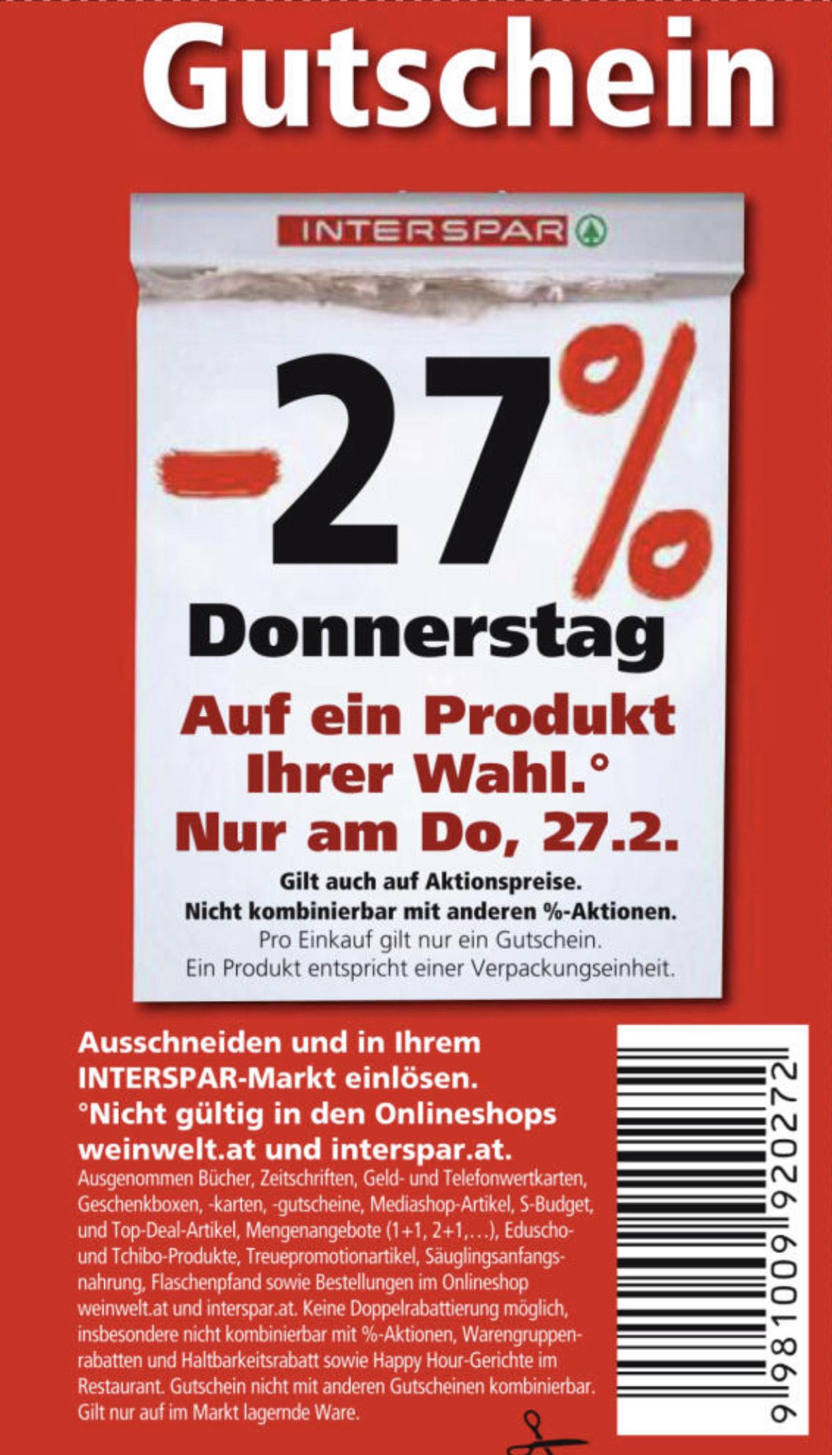 (Update Leak) Interspar -27% am 27.02.2020 Donnerstag