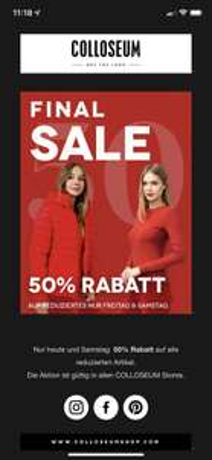 -50% auf alles im Sale (Colloseum)