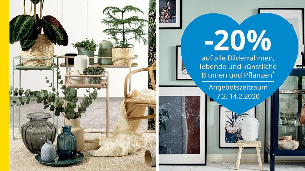 Ikea: - 20% auf Bilderrahmen, lebende und künstliche Pflanzen (Family & Business)