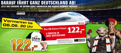 """""""DB Saturn-Ticket"""" - 4 einfache DB-Fahrten durch ganz Deutschland für 122€"""