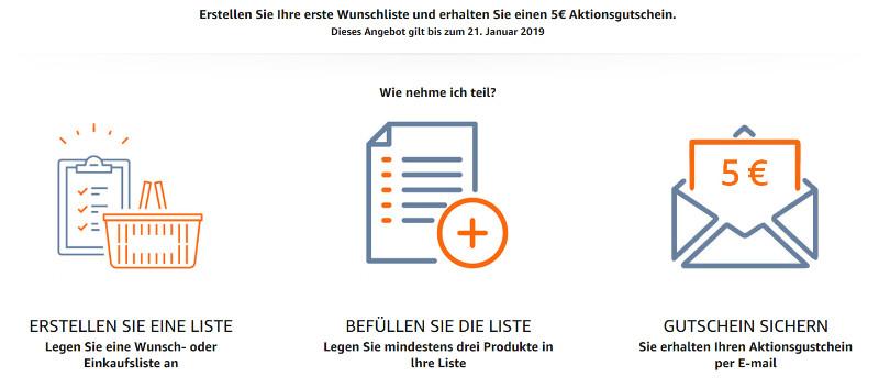 Amazon: 5 Euro Gutschein für die erste Erstellung einer Wunschliste
