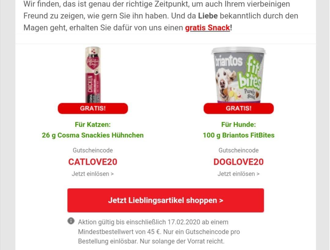 [Zooplus] Gratis Snack - MBW 45€