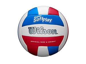 Wilson Unisex-Adult SUPER Soft Play VB WHRDBLUE Volleyball, White/RED/Blue, Official