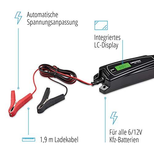 MEDION KFZ-Batterieladegerät, LC-Display, auch für Motorradbatterien