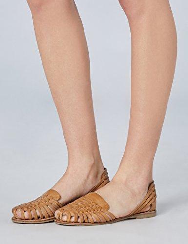 Amazon-Marke: find. Damen Mokassin alle Größen von 36-41 in braun oder gold metallic
