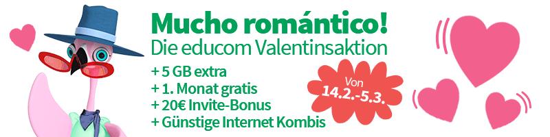 Educom: 20€ Startbonus + 20€ Invite Bonus + 1 gratis Monat + 5GB Monatlich geschenkt
