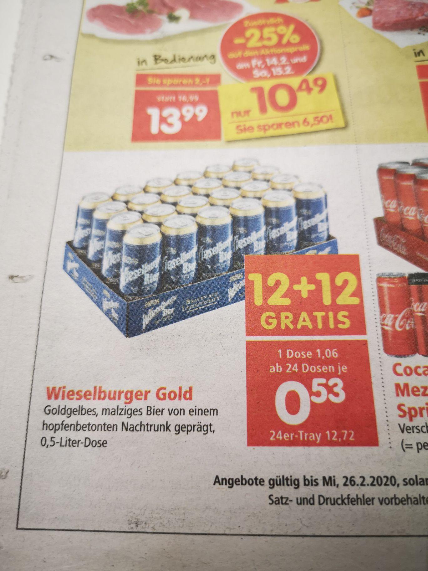 Wieselburger Dosenbier 0.5l um 53ct im 24er Tray