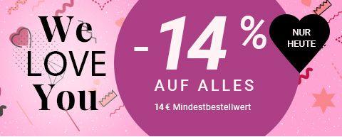 14% Rabatt auf alles außer Neuware ab 14 € MBW
