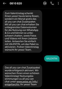yesss Gratis All you can chat Paket für 1 Monat