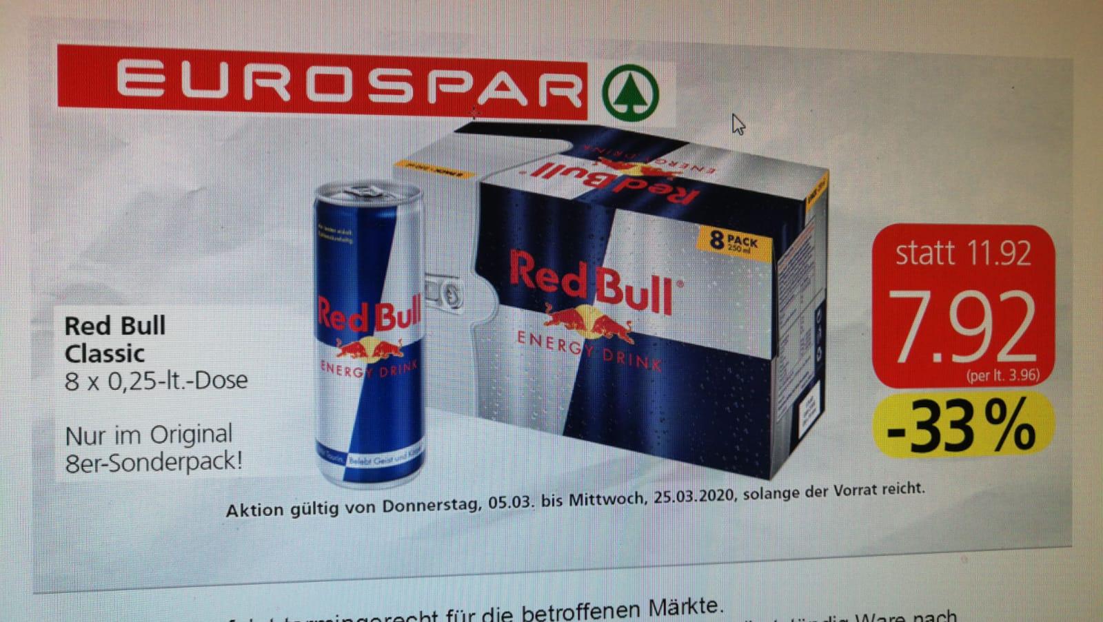 [Ankündigung] Eurospar Red Bull 8 x 250ml