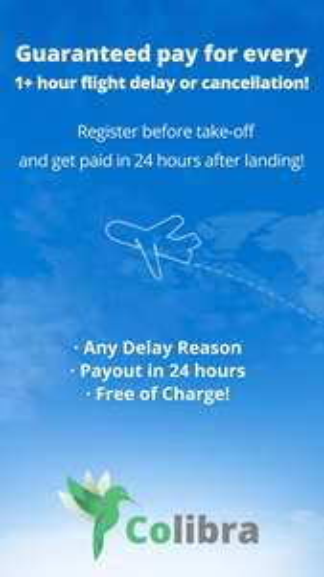 Colibra flights App-Bei Flugverspätung unter 3h bezahlt werden!