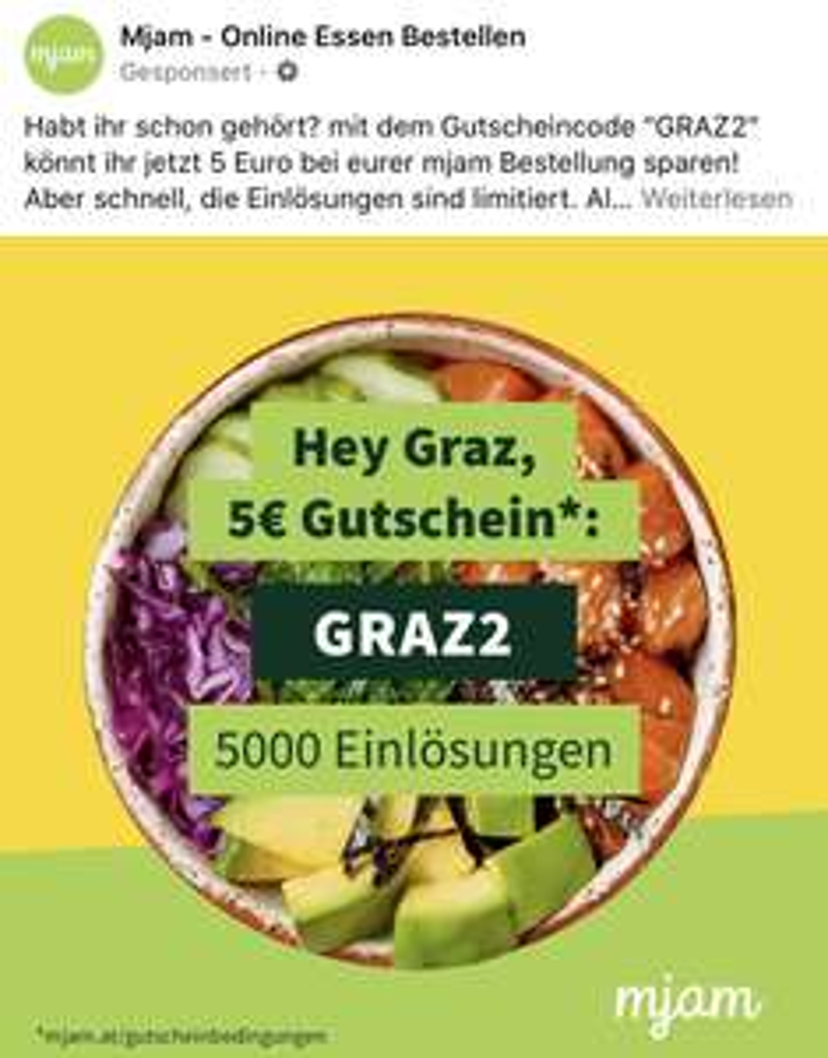 -5€ Mjam Gutschein für Grazer