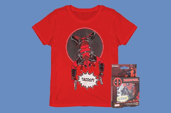 Deadpool Shirt und 4 Deadpool Untersetzer