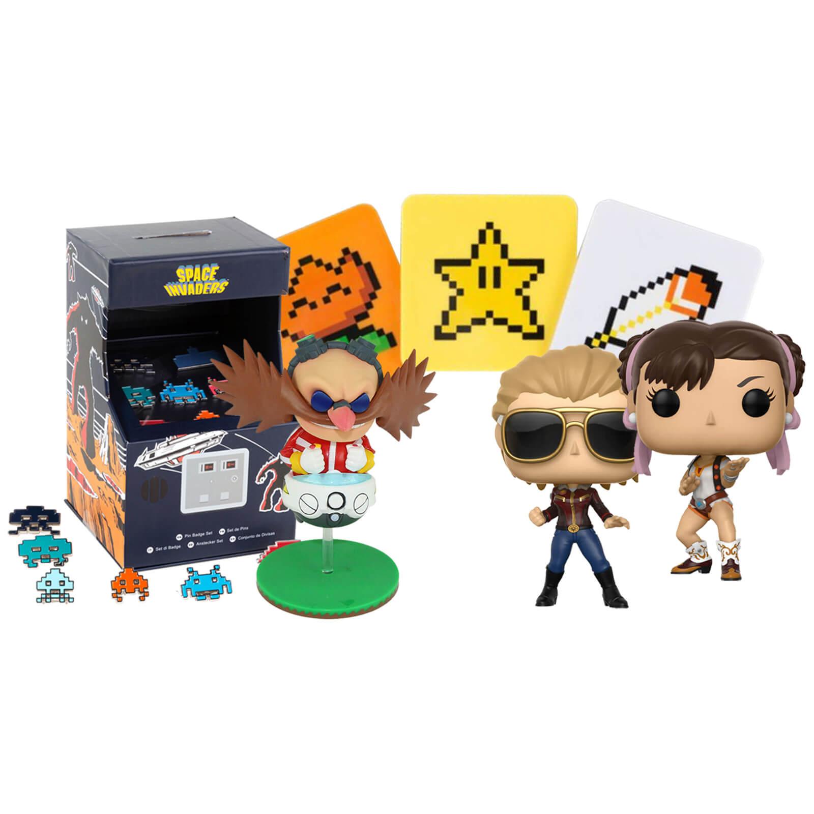 Retro Gaming Paket mit 2 Pop! Figuren, Dr. Robotnik, Space Invader Pins und SMW Untersetzer