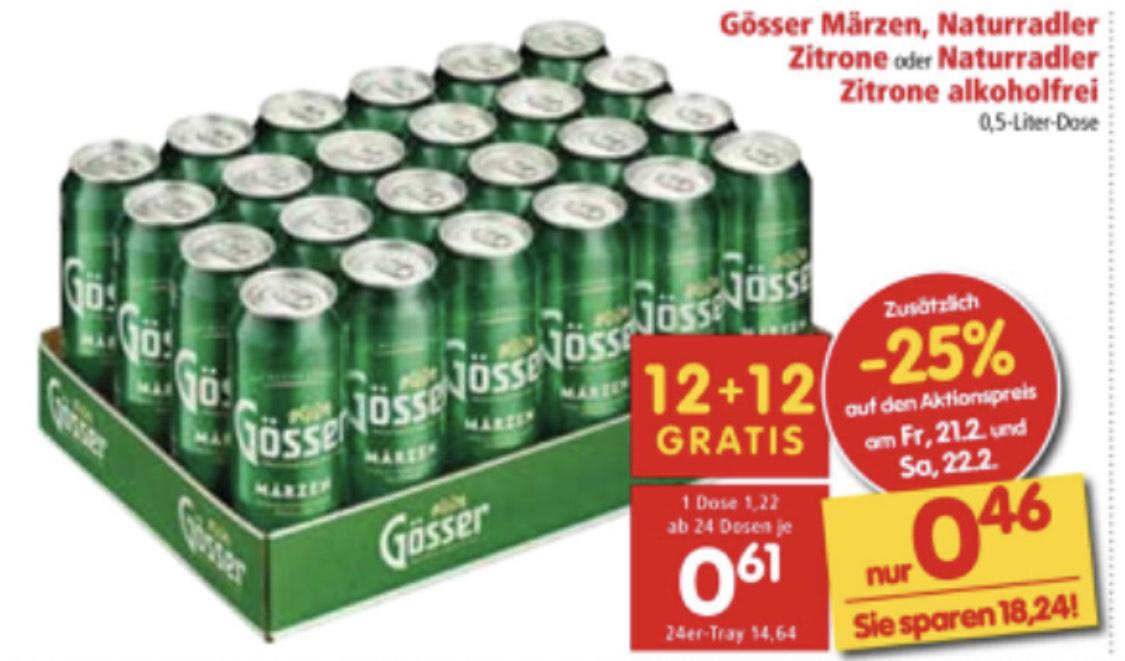 Gösser Märzen - ab 24 Dosen um nur je 0,46€ (21.02-22.02.)
