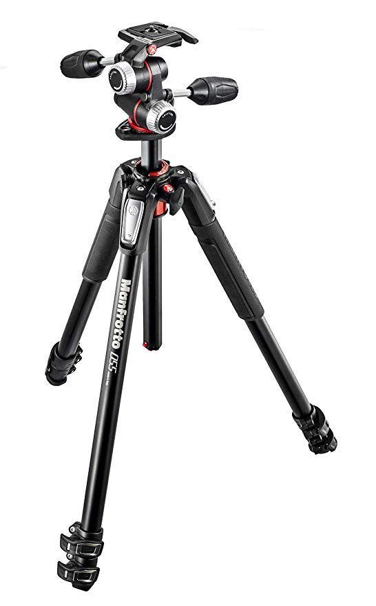 Manfrotto 055 professionelles Fotostativ mit 3 Auszügen (3-Wege Neiger und horizontaler Mittelsäule, Spiegellos bis 8 kg)