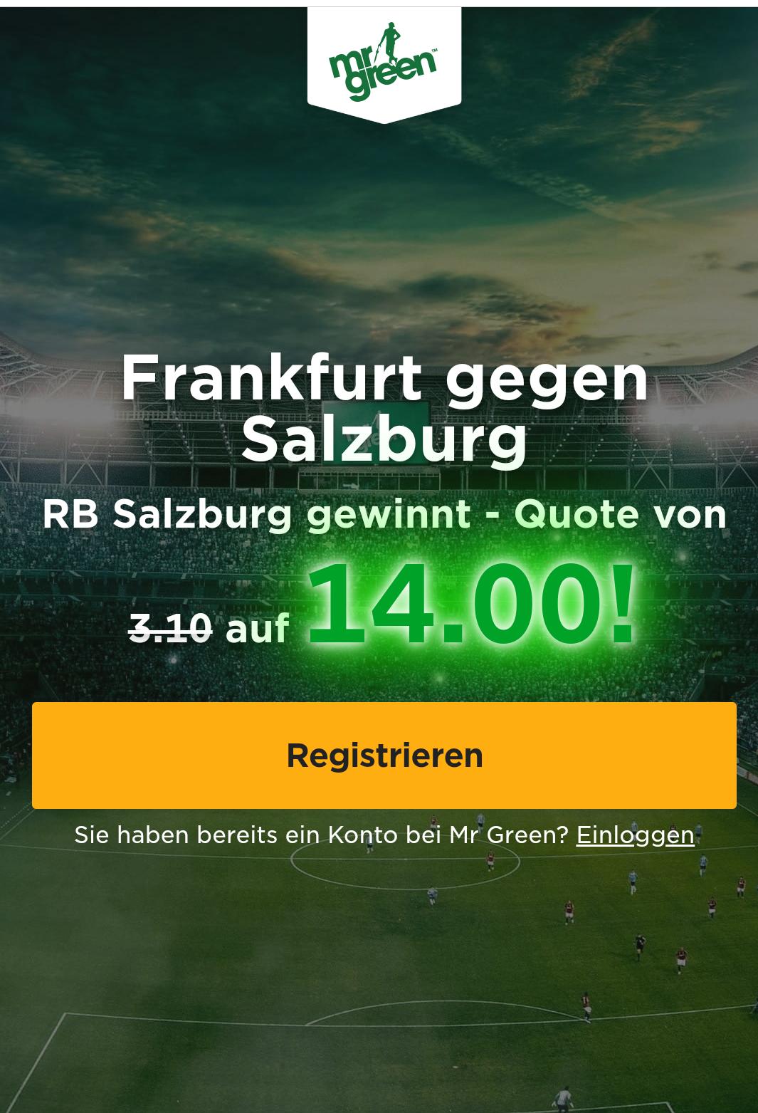 12,34 € Fix Gewinn - SureBet Neukunden - bei Frankfurt-Salzburg