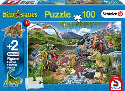 Preisjäger Junior: Im Reich der Dinosaurier, 100-teiliges Puzzle inkl. 2 Schleich Figuren