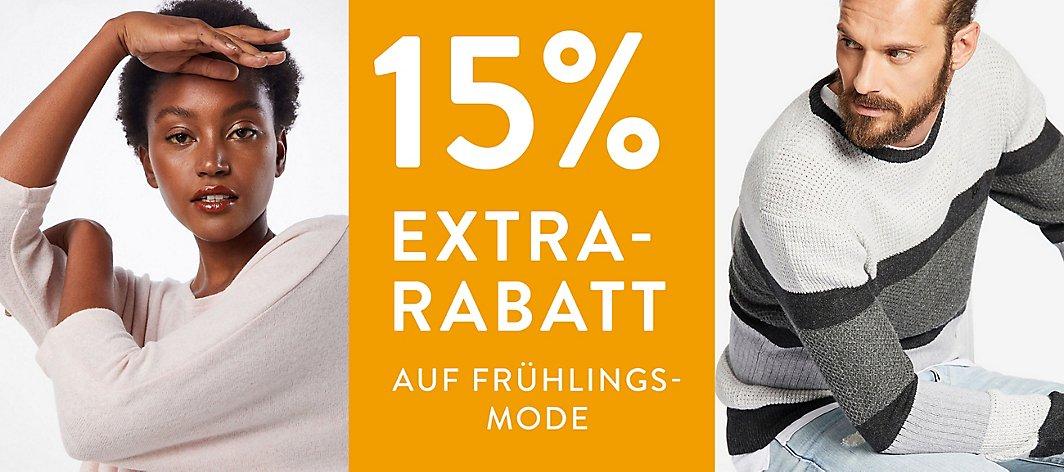 15% Rabatt auf Frühlingsmode für Damen und Herren