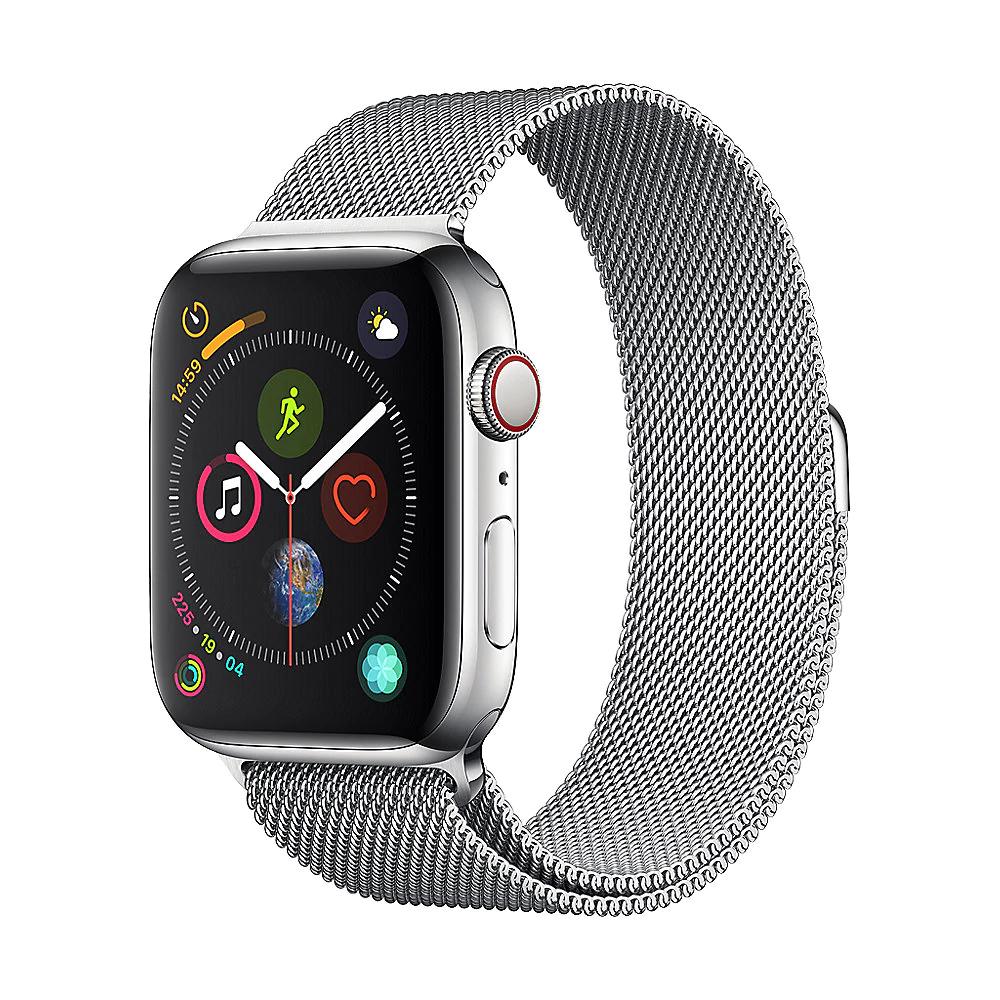 Apple Watch Series 4 (LTE, 44mm, Edelstahl) mit Milanaise Armband