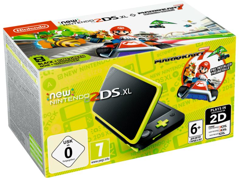 NINTENDO New 2DS XL Schwarz Apfelgrün inkl. Mario Kart 7 (vorinstalliert)