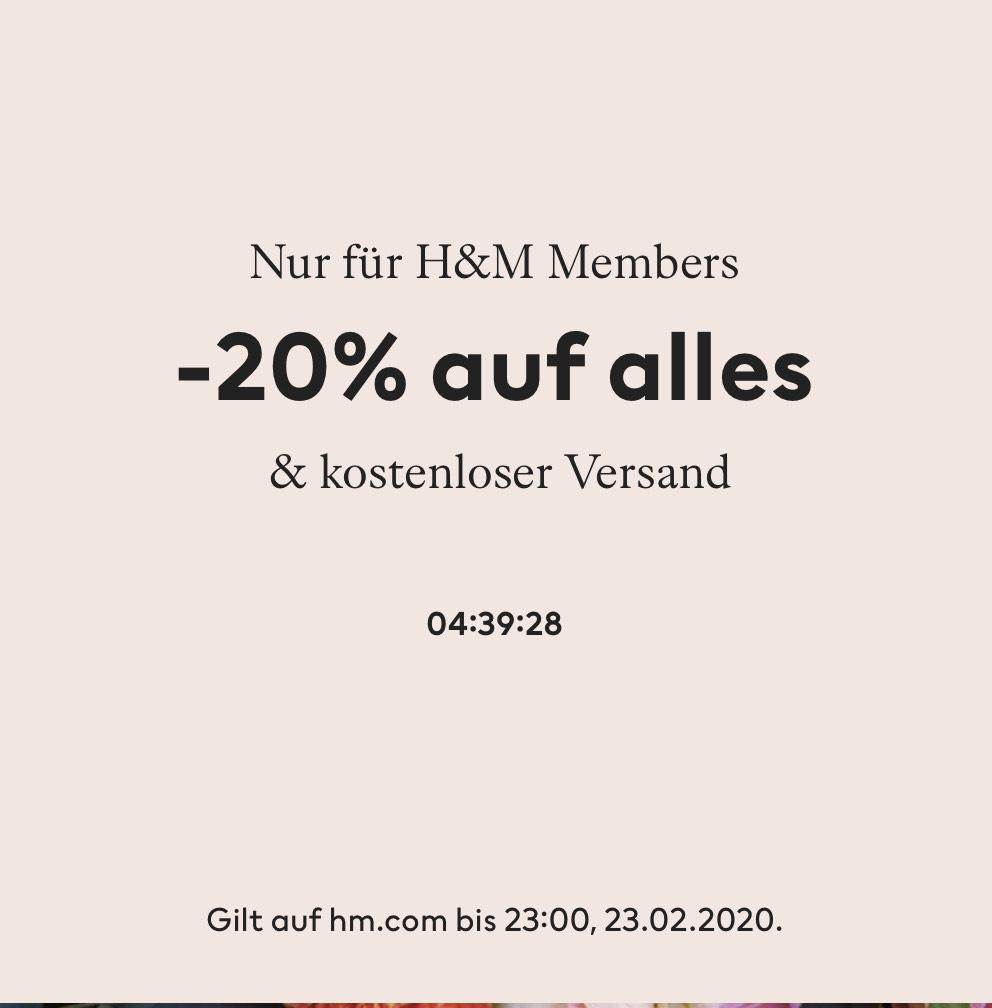H&M: 20% auf alles + kostenloser Versand für Member bis heute 23:00