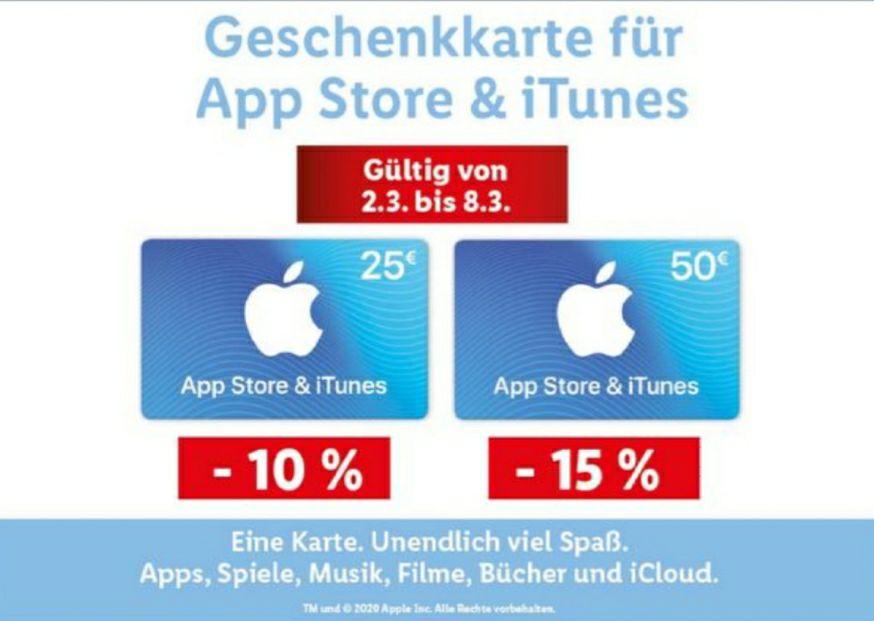 [Lidl]Apple iTunes Karten 15% (50€=42,5€) bzw 10% (25€=22,5€)
