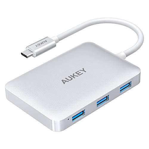 AUKEY USB-C Hub (6 in 1) + HDMI Port (4x USB 3.0, 1x 100W USB-C Ladeanschluss, 1x 4K HDMI Anschluss)
