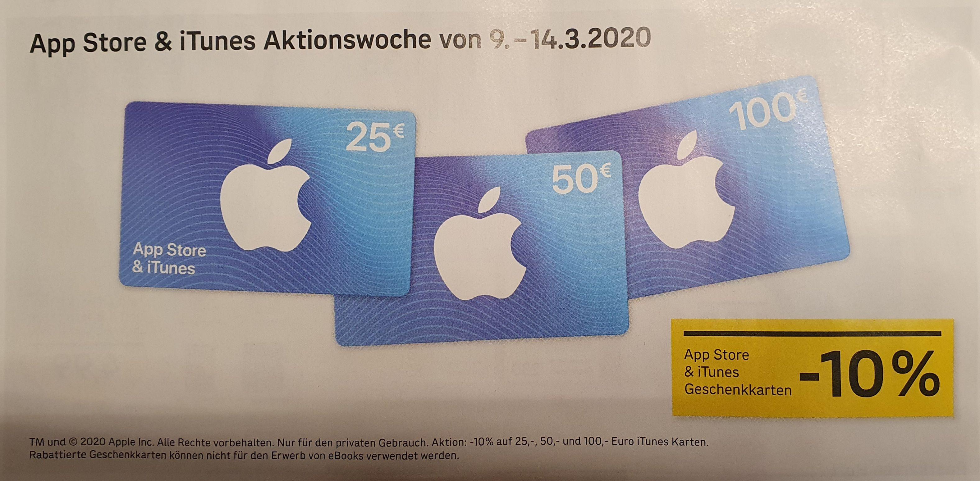 -10% auf 25, 50 u. 100 Euro iTunes Geschenkkarten